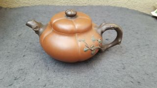 Rare Antique Chinese Yixing Teapot Pumpkin With Branch And Leafs Marked
