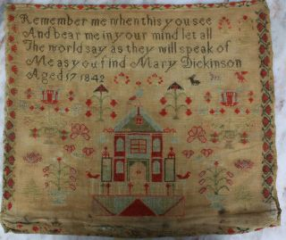 Antique Needlework Sampler By Mary Dickinson Aged17 1842.