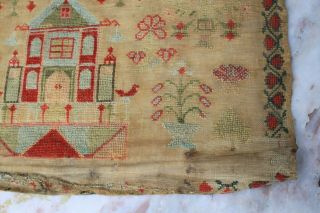 ANTIQUE NEEDLEWORK SAMPLER by MARY DICKINSON AGED17 1842. 2