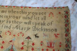 ANTIQUE NEEDLEWORK SAMPLER by MARY DICKINSON AGED17 1842. 4