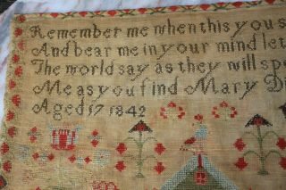 ANTIQUE NEEDLEWORK SAMPLER by MARY DICKINSON AGED17 1842. 5