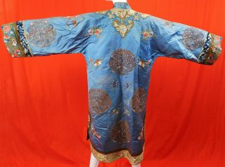 Antique Chinese Blue Silk Gold Couching Embroidered Roundels Cloud Collar Robe