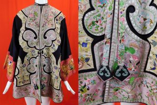 Antique Chinese Embroidered Flowers Insects Birds Red Sleeve Band Cuffs Robe Vtg