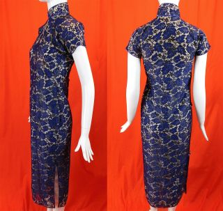 Vintage 1930s Antique Chinese Qipao Cheongsam Blue Lace White Silk Banner Dress 3