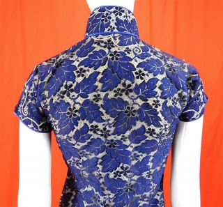 Vintage 1930s Antique Chinese Qipao Cheongsam Blue Lace White Silk Banner Dress 4