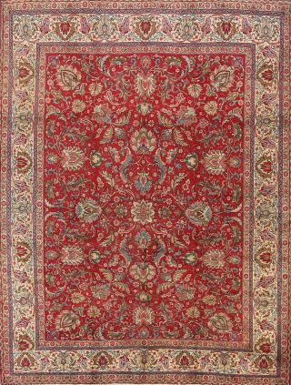 Vintage Persian Area Rug 10x13 Hand Knotted Wool Persian Rug Red Oriental Floral