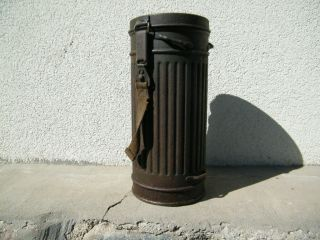 Ww2 German Wehrmacht Gas Mask Canister Container Marked