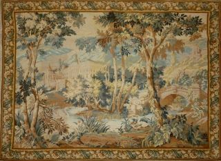 Huge Vintage French Wallhanging Tapestry Verdure & Wild Life 209cm X 161cm