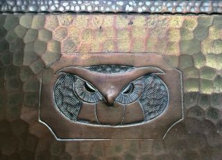 Rare Signed Roycroft Hand Hammered Copper Bookends W Owls,  C.  1900 - 20s