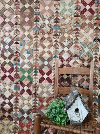 The Fabrics C1830 - 1870 Antique Flying Geese Cross Quilt Prussian Ombre Chintz