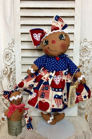 Primitive Gingerbread Doll Patriotic Americana Usa With Baby Ornie Shelf Sitter