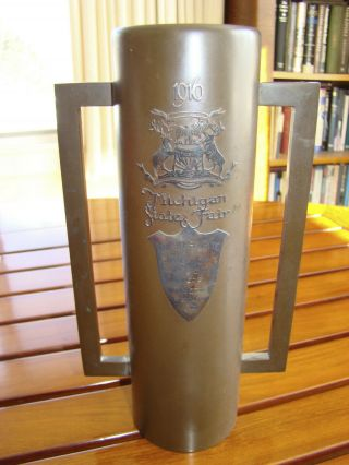 1916 Michigan State Fair Bronze Arts & Crafts Trophy / Vase Made By Heintz
