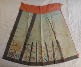 Antique Chinese Embroidered Silk Skirt.  Lt.  Qing Dynasty.  Five Claw Dragons.