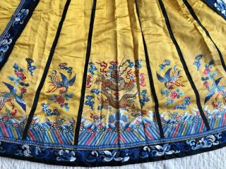 Antique Chinese Imperial Yellow Satin Dragon Skirt Finely Embroidered Gold Qing 10
