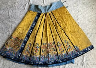 Antique Chinese Imperial Yellow Satin Dragon Skirt Finely Embroidered Gold Qing 4