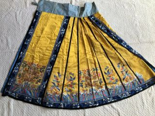 Antique Chinese Imperial Yellow Satin Dragon Skirt Finely Embroidered Gold Qing 6