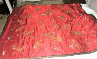 Large ANTIQUE CHINESE SILK EMBROIDERY PANEL with FOO DOGS QING 56