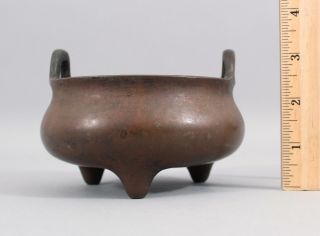 Ancient Antique 15thc Chinese,  Xuande Period,  Ming Dynasty Small Bronze Censor
