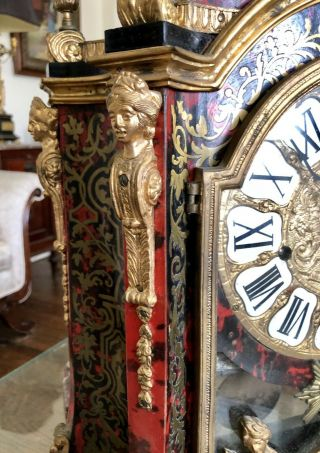 Mid Century French Bronze Louis XV Style Boulle Inlay Large Mantle Clock 2