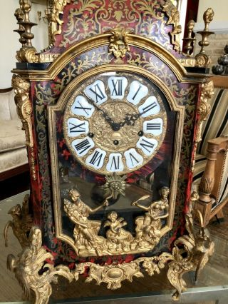 Mid Century French Bronze Louis XV Style Boulle Inlay Large Mantle Clock 8