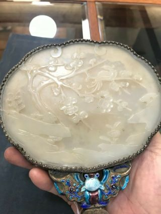 Chinese antique enameled hand mirror w/ carved white jade handle & jade plaque 10