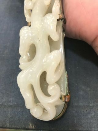 Chinese antique enameled hand mirror w/ carved white jade handle & jade plaque 4