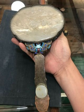 Chinese antique enameled hand mirror w/ carved white jade handle & jade plaque 9