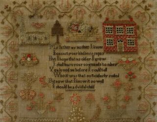 MID 19TH CENTURY RED HOUSE,  CHURCH & VERSE SAMPLER BY MARTHA GERRARD AGE 10 1845 10