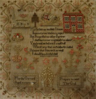 MID 19TH CENTURY RED HOUSE,  CHURCH & VERSE SAMPLER BY MARTHA GERRARD AGE 10 1845 11