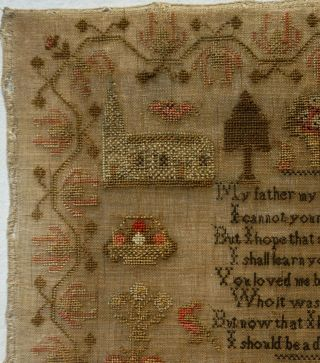MID 19TH CENTURY RED HOUSE,  CHURCH & VERSE SAMPLER BY MARTHA GERRARD AGE 10 1845 4