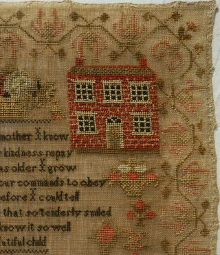 MID 19TH CENTURY RED HOUSE,  CHURCH & VERSE SAMPLER BY MARTHA GERRARD AGE 10 1845 5