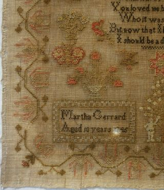MID 19TH CENTURY RED HOUSE,  CHURCH & VERSE SAMPLER BY MARTHA GERRARD AGE 10 1845 6
