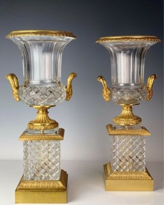 "Dore Bronze And Cut Crystal Vases 22 "" High Perfect"
