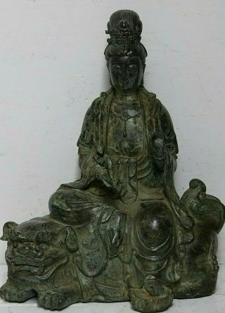 Large Seated Bronze Of Guanyin Sat On Foo Dog - 2 Seal Marks Rare