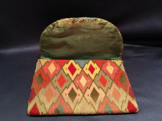 18th Century Hand Embroidered Flame Stitch Purse 6