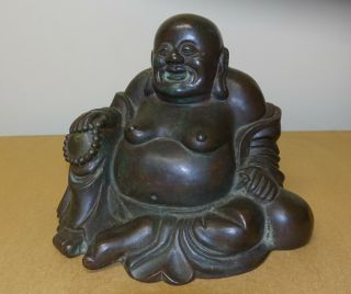 Antique Large Chinese Asian Seated Bronze Buddha Qing Dynasty Statue