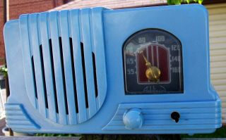 Baby Blue Art Deco Addison Tube Radio Catalin Plaskon Bakelite 1940s Fine