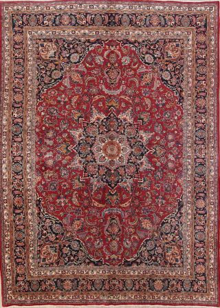 Vintage Traditional Floral Signed Persian Area Rug Hand - Knotted Oriental 10