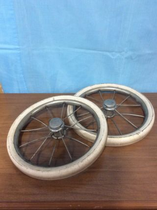 """2 Vintage Wire Spoke Baby Buggy Carriage Stroller Wheels 11 1/2"""""""