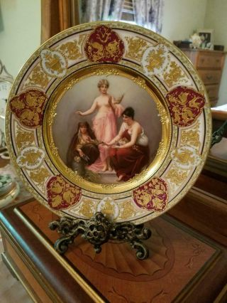 """Antique Royal Vienna Hand Painted Plate Plaque,  Artist Signed """" Wagner """""""