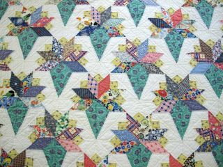 "Outstanding Vintage Feed Sack Novelty Prints Hand Sewn Nose Gay Quilt; 84 "" X 73 """