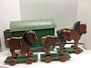 Large Antique German Wooden 3 Draft Horse And Wagon Child