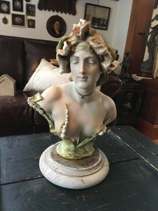 Antique Amphora Nude Lady Bust Art Nouveau Signed Lily Of The Valley