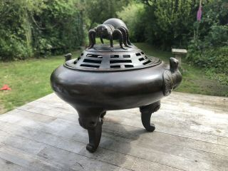 Large Chinese 18th / 19th Century Qing Dynasty Bronze Censer Spider Bats Trigram
