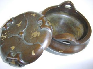 Small Stunning Antique Chinese Gilt Splash Bronze Censer Signed Base On A Stand