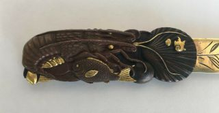 Fine Japanese Meiji Page Turner Gold Bronze Silver Lobster Fish Crab Mixed Metal