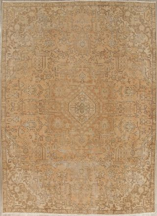 Antique Geometric Muted Persian Oriental Area Rug Hand - Knotted Distressed 8