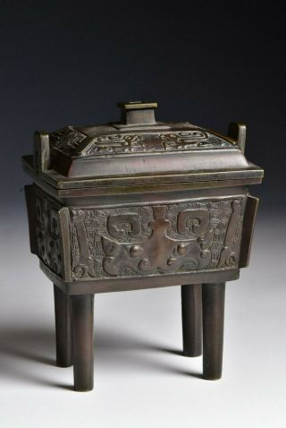 18th / 19th Chinese Bronze Footed Censer With Animals