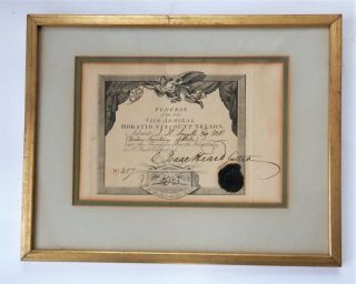 1806 Funeral Procession Ticket Vice Admiral Horatio Lord Nelson Framed