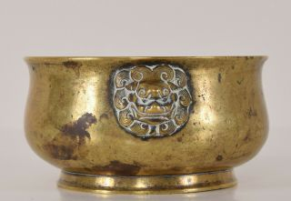 Late Ming - Early Qing Chinese Bronze Lion Mask Censer Incense Burner Xuande Mk 3